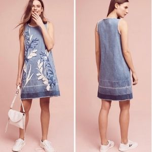Holding Horses Denim Leaves Embroidered Jean Dress